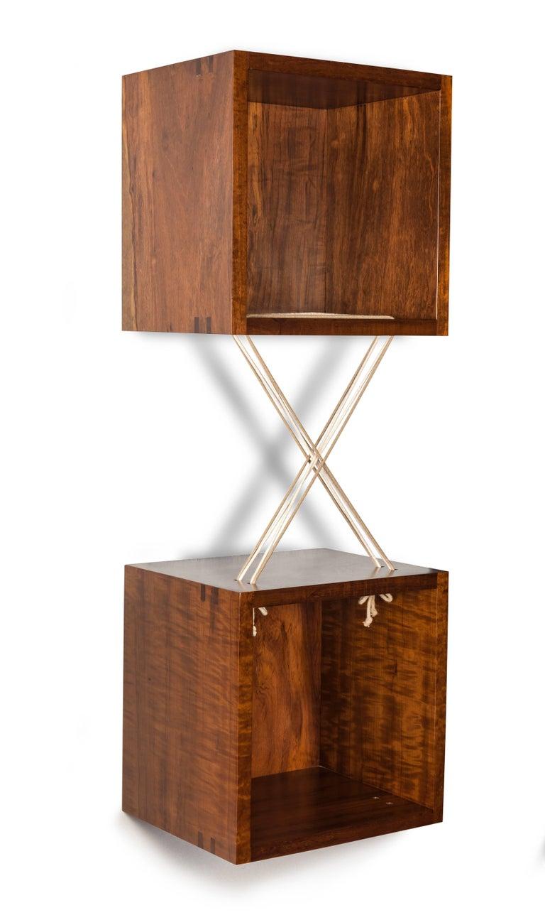 Contemporary Entrelaçados Floating Cube Shelf in Imbuia Wood For Sale