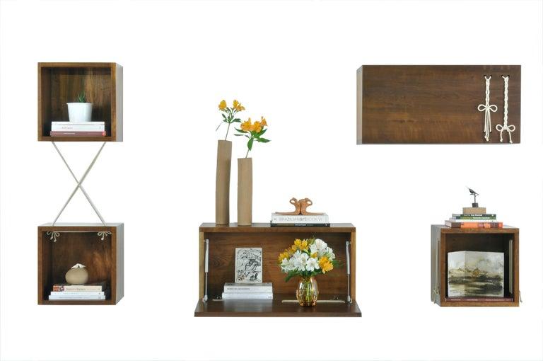 Spun Entrelaçados Floating Cube Shelf in Imbuia Wood For Sale