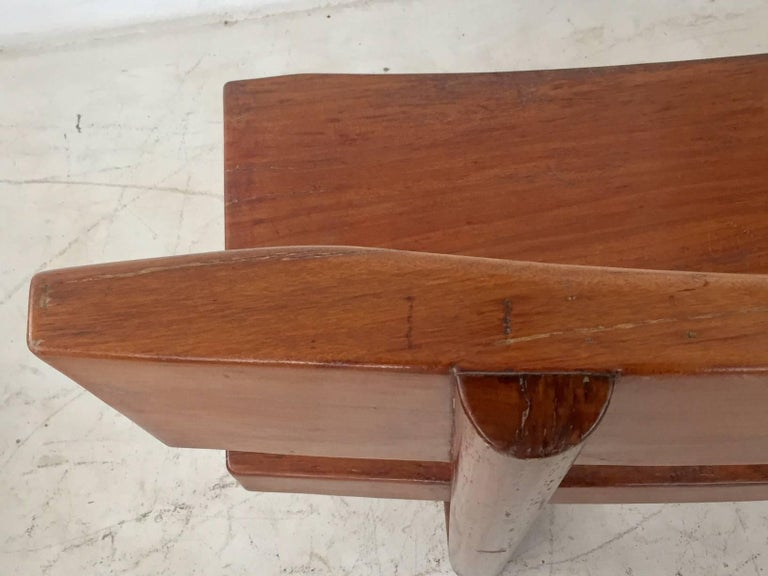 Brazilian Modern Curved Solid Wood Bench Signed by Zanine Caldas In Excellent Condition For Sale In Sao Paulo, SP