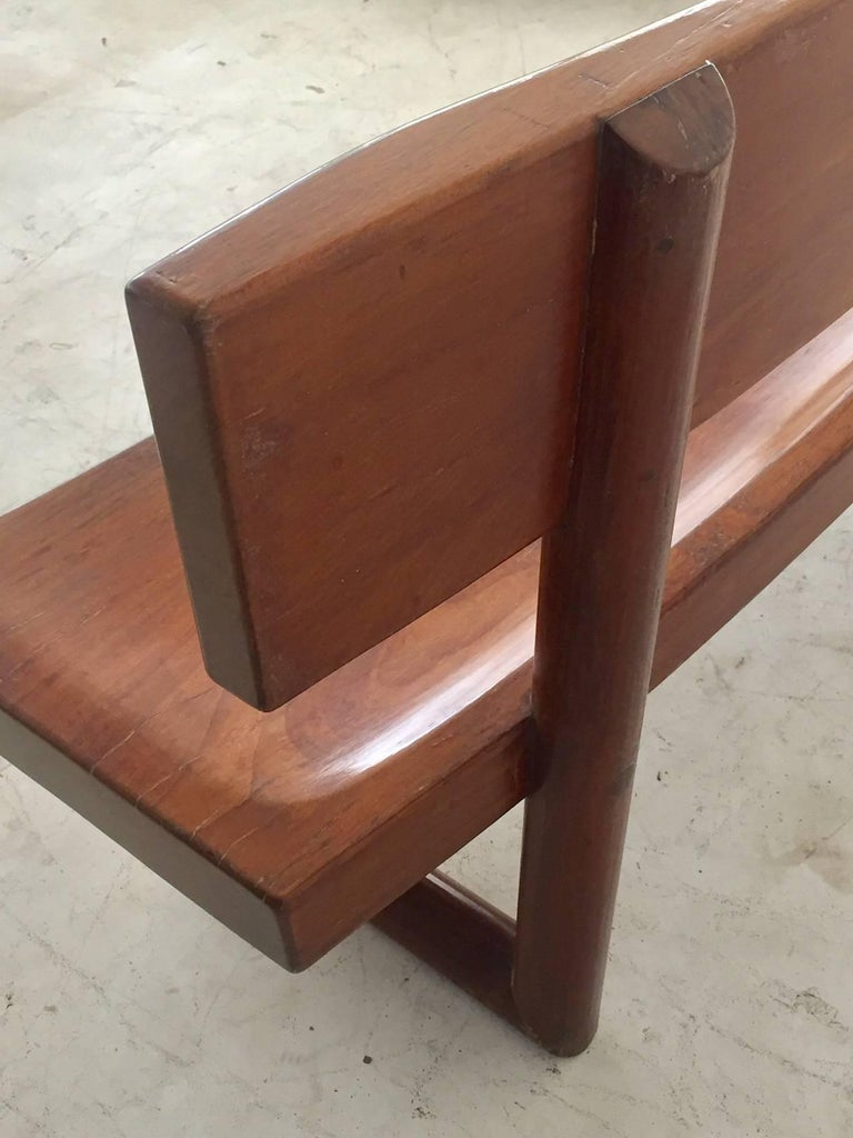 Brazilian Modern Curved Solid Wood Bench Signed by Zanine Caldas For Sale 2