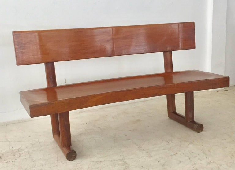 Brazilian Modern Curved Solid Wood Bench Signed by Zanine Caldas For Sale 3