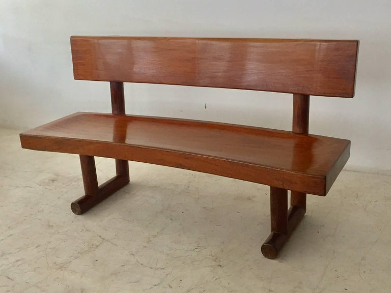 Brazilian Modern Curved Solid Wood Bench Signed by Zanine Caldas For Sale 5