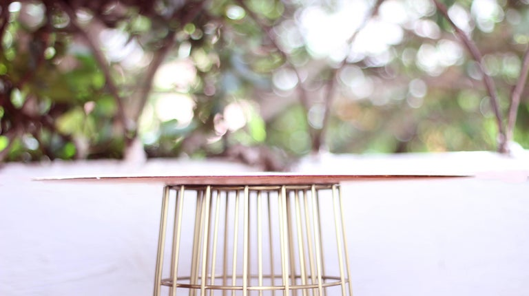 Mid-Century Modern Contemporary Side table in Wood and Brass Side Table For Sale