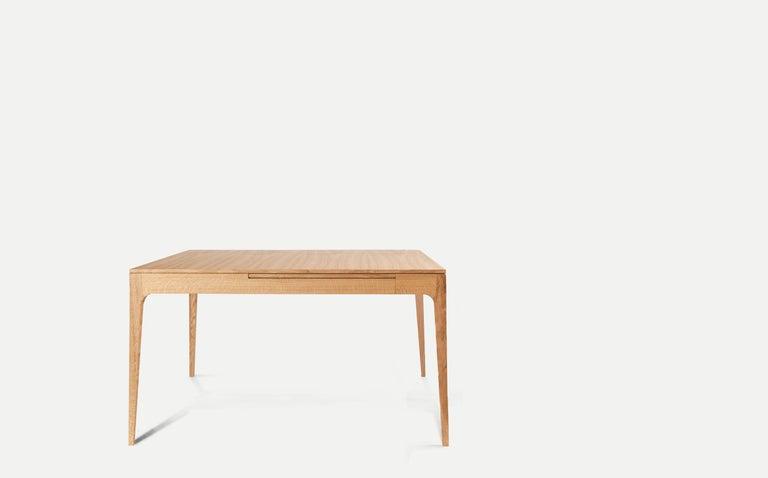 Scandinavian Modern Minimalist Oak Long Dinner Table Extendable For Sale