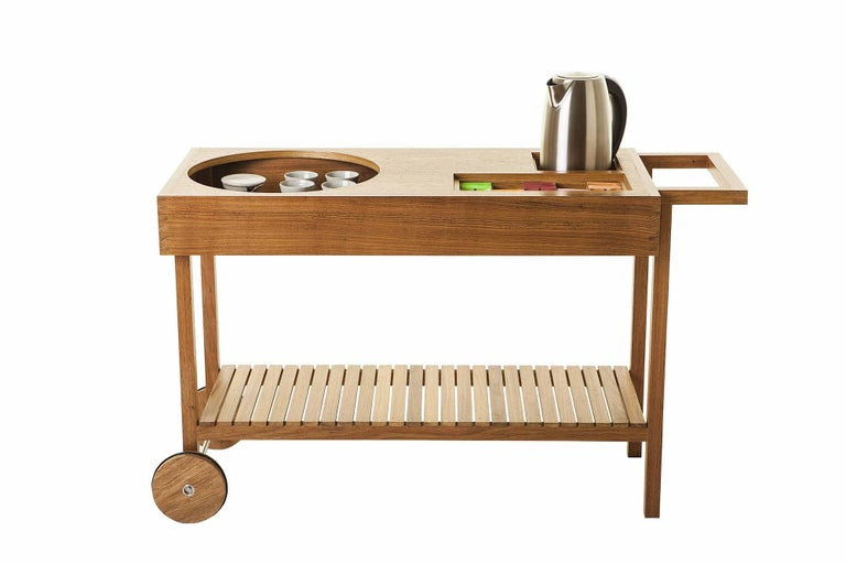 Bar Cart in Tropical Brazilian Hardwood, Contemporary Design In Excellent Condition For Sale In Sao Paulo, SP