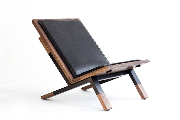 Mid-Century Modern Contemporary Lounge Chair, Walnut, Powder-Coated Steel and Leather Cushion For Sale