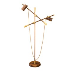 Contemporary Two-+Arms Floor Lamp-Felina II, Solid Brass and Walnut