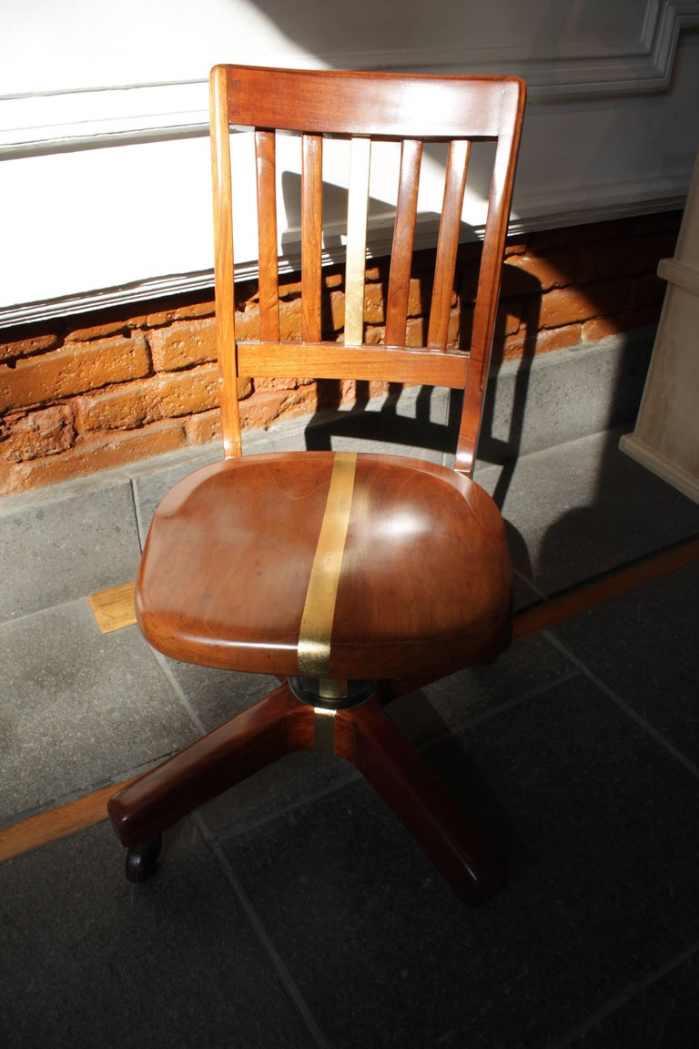 Red cedar wood office Chair from 1940s For Sale at 1stdibs