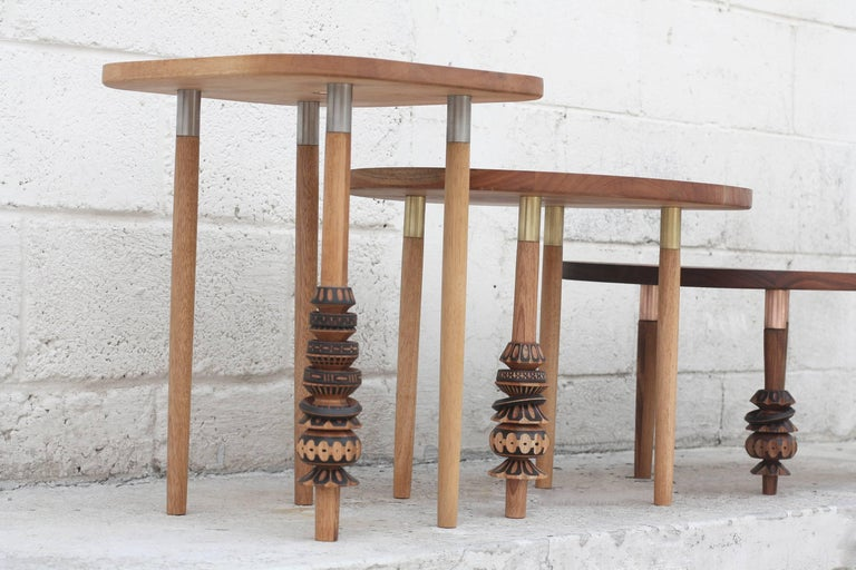This set of coffee tables are part of a collection worked hand-by-hand with Mexican artisan Antelmo.  Antelmo was born and raised in a small town in central Mexico named Santa María Rayón, State of Mexico. Antelmo has dedicated his life to become
