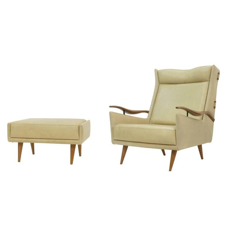 Brazilian Midcentury Armchair and Ottoman by Giuseppe Scapinelli For Sale