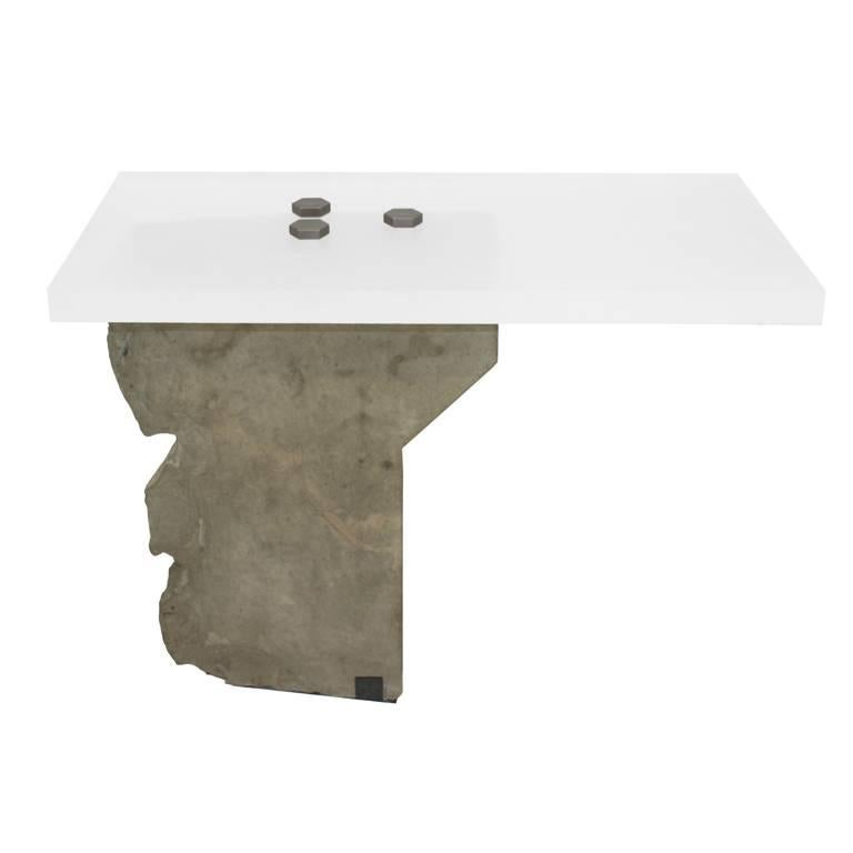 Contemporary Side Table in Stone by Gustavo Neves, Brazilian Design For Sale