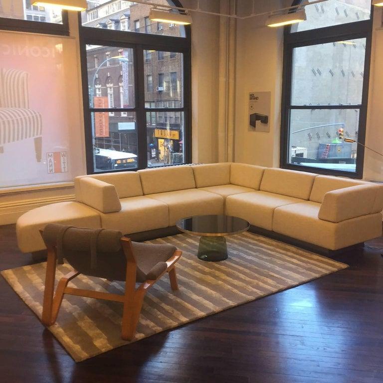 Harvey Probber Cubo raked sectional sofa in beige measuring: 96