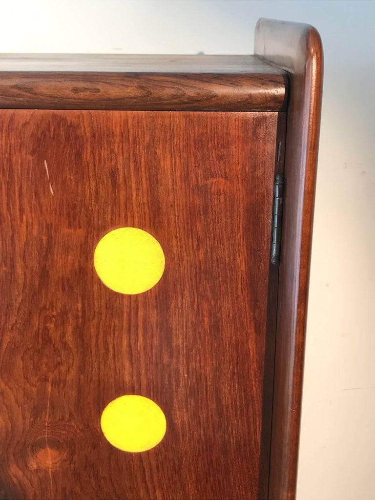 Brazilian Modern Cimo Armoire in Hardwood with Yellow Details For Sale