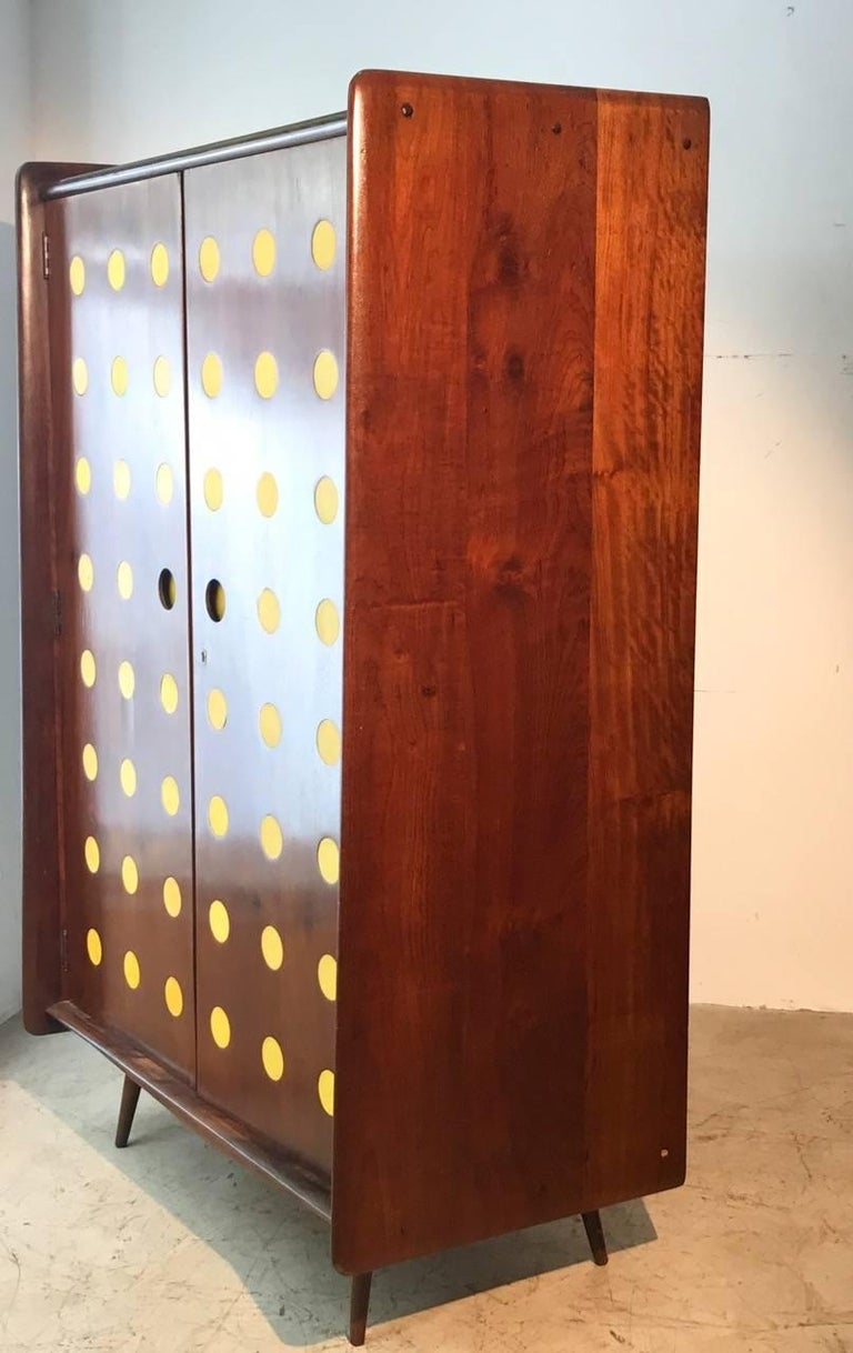20th Century Modern Cimo Armoire in Hardwood with Yellow Details For Sale