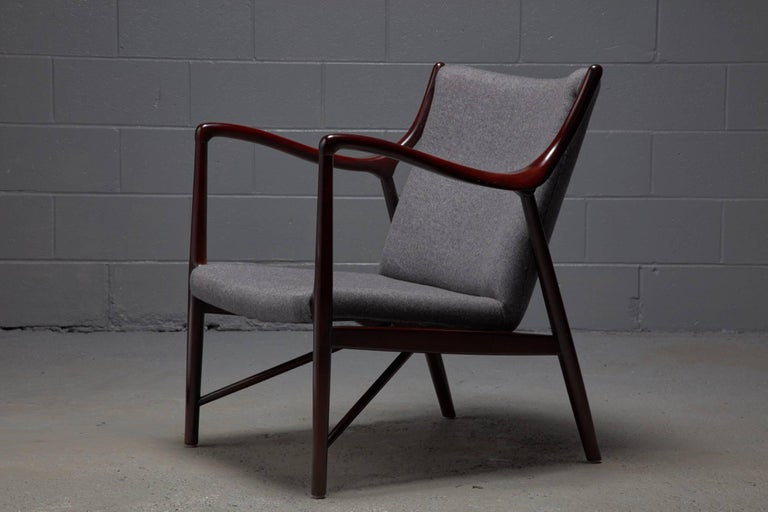 20th Century Rosewood Finished Danish Modern Chair in Style of Finn Juhl / Niels Vodder NV45 For Sale
