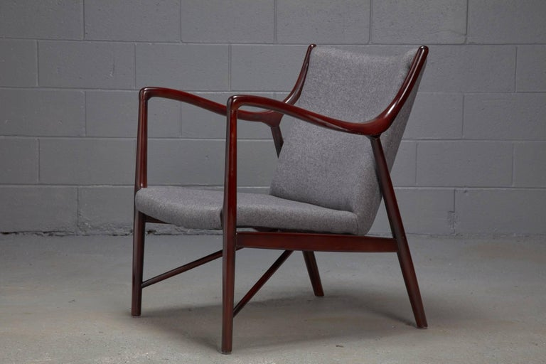 Rosewood Finished Danish Modern Chair in Style of Finn Juhl / Niels Vodder NV45 In Good Condition For Sale In Belmont, MA