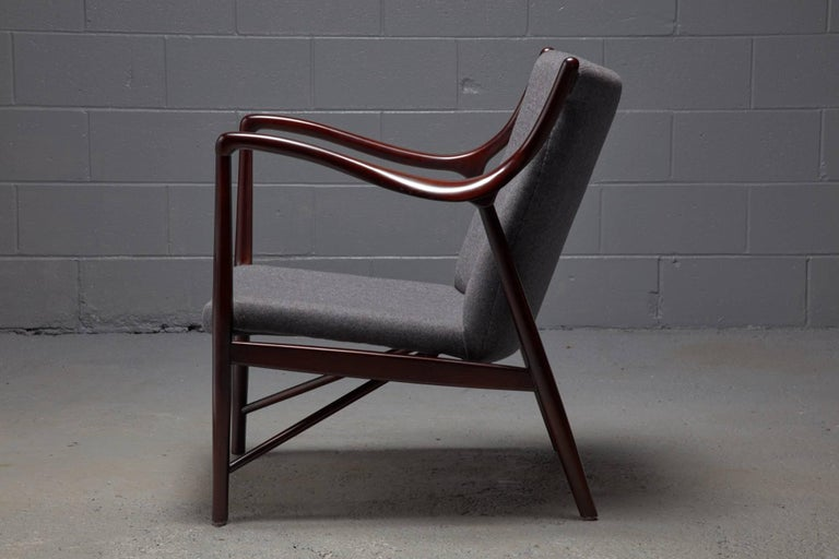 Wool Rosewood Finished Danish Modern Chair in Style of Finn Juhl / Niels Vodder NV45 For Sale