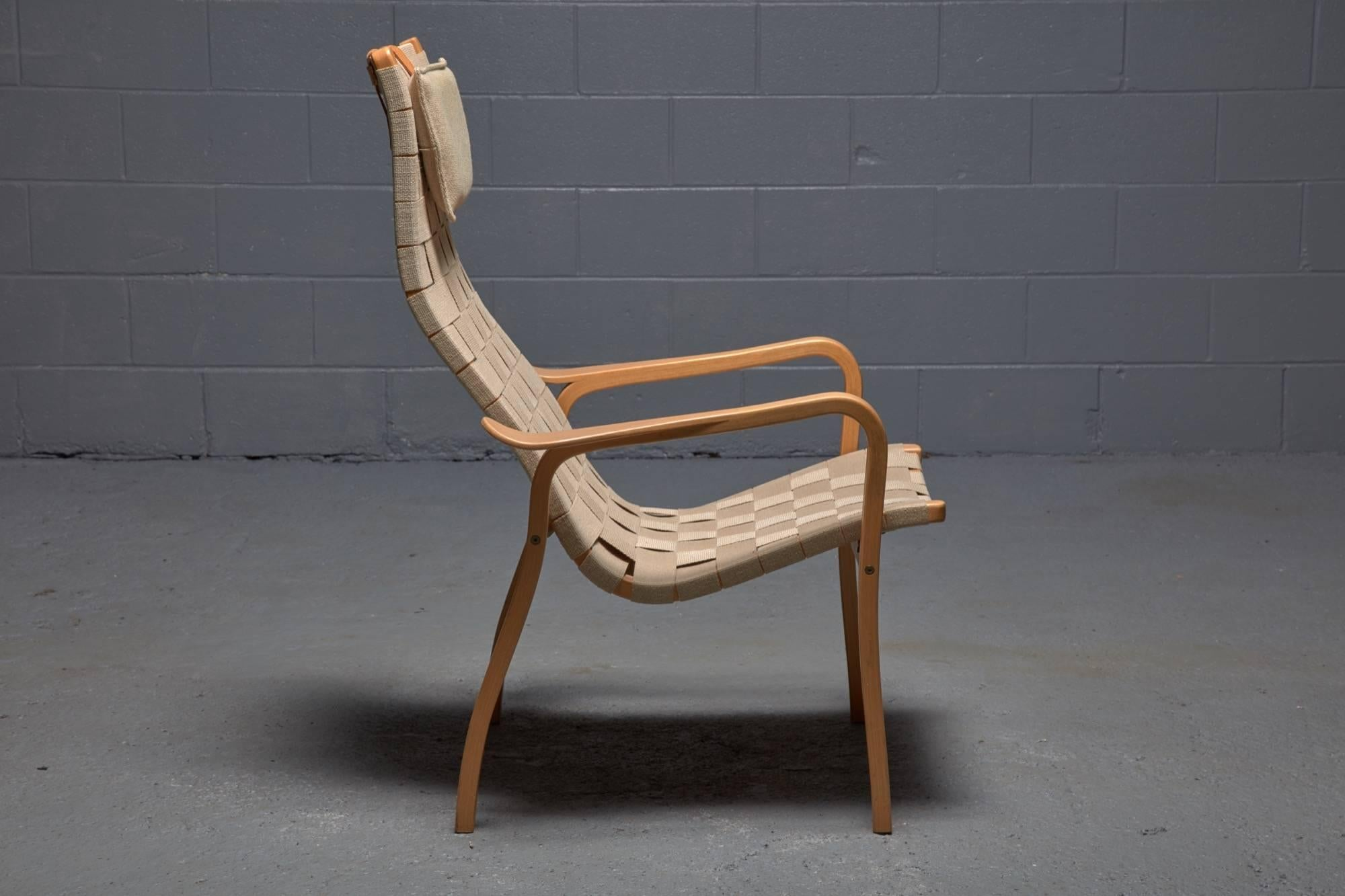 Mid Century Modern Beech And Webbing Lamino Lounge Chair By Yngve Ekstrom  For Swedese For