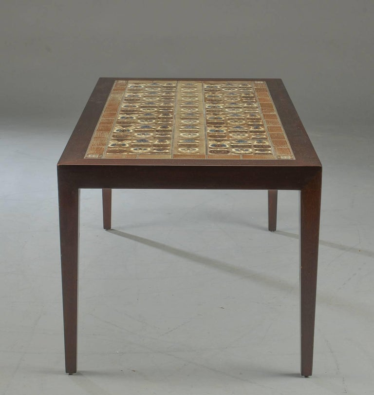Danish Mid Century Modern Occasional Side Coffee Table Rosewood: Danish Modern Rosewood And Ceramic Tile Coffee Table