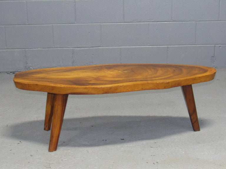 Solid koa wood free form live edge coffee table 1960s for for Free form wood coffee tables