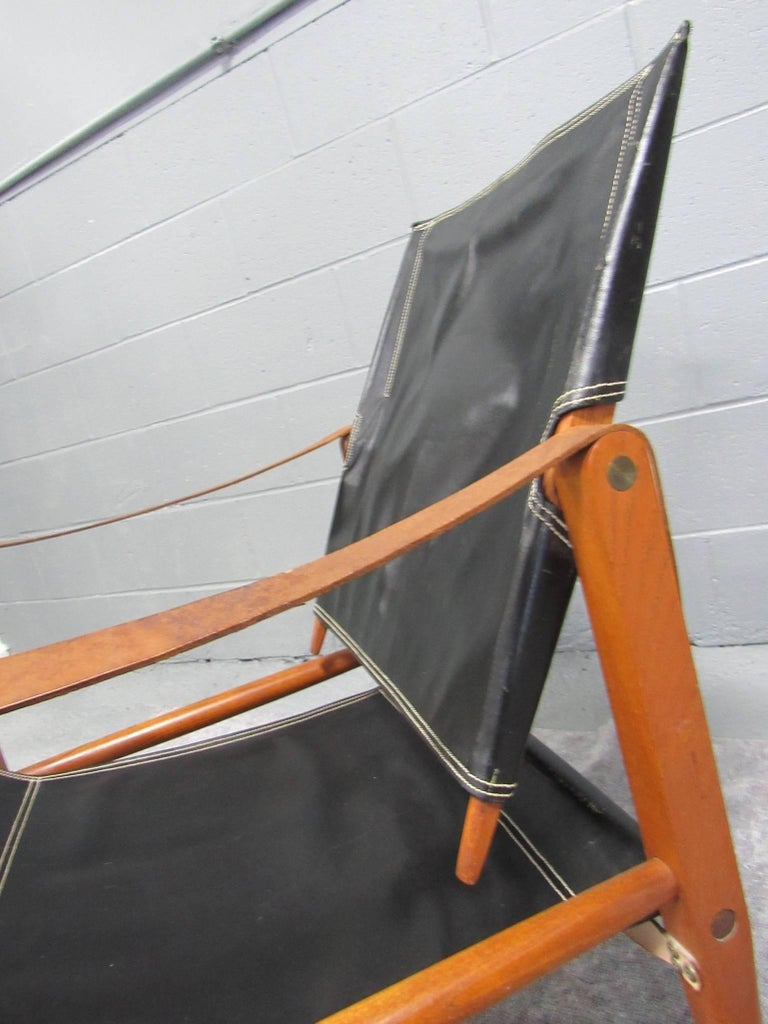 Black Leather Safari Chair by Kaare Klint for Rud Rasmussen For Sale 1
