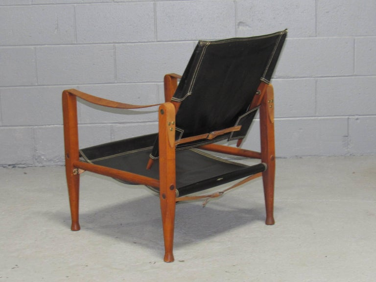 Danish Black Leather Safari Chair by Kaare Klint for Rud Rasmussen For Sale