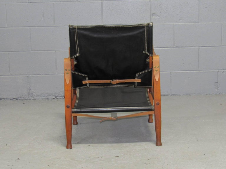 Black Leather Safari Chair by Kaare Klint for Rud Rasmussen In Good Condition For Sale In Belmont, MA