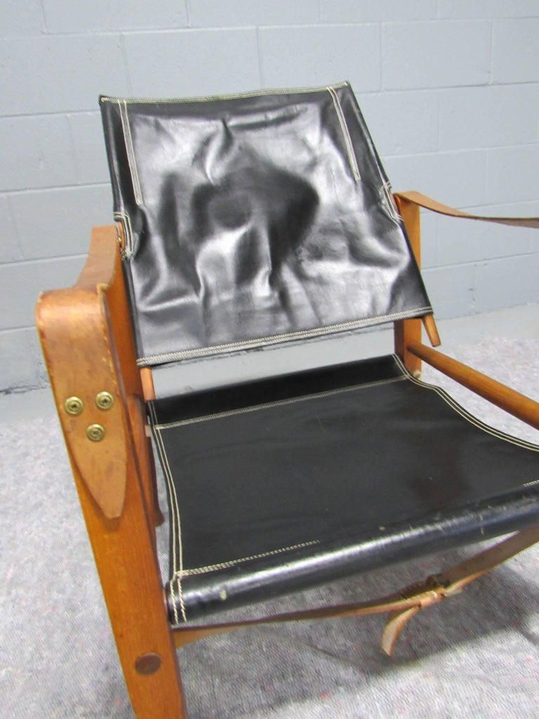 Black Leather Safari Chair by Kaare Klint for Rud Rasmussen For Sale 2