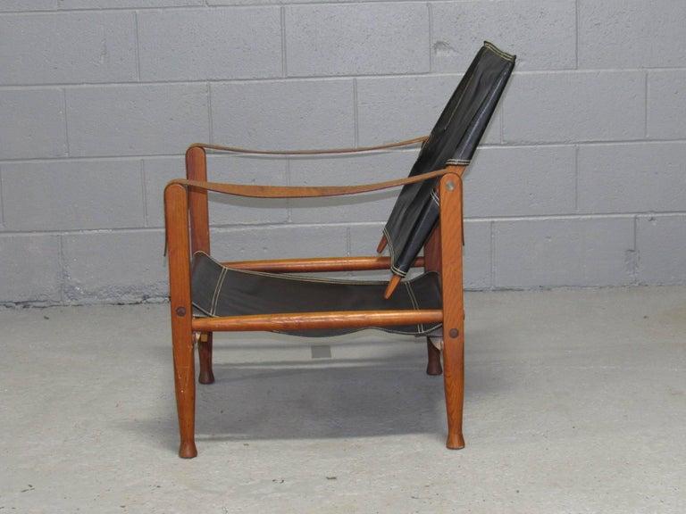Mid-Century Modern Black Leather Safari Chair by Kaare Klint for Rud Rasmussen For Sale