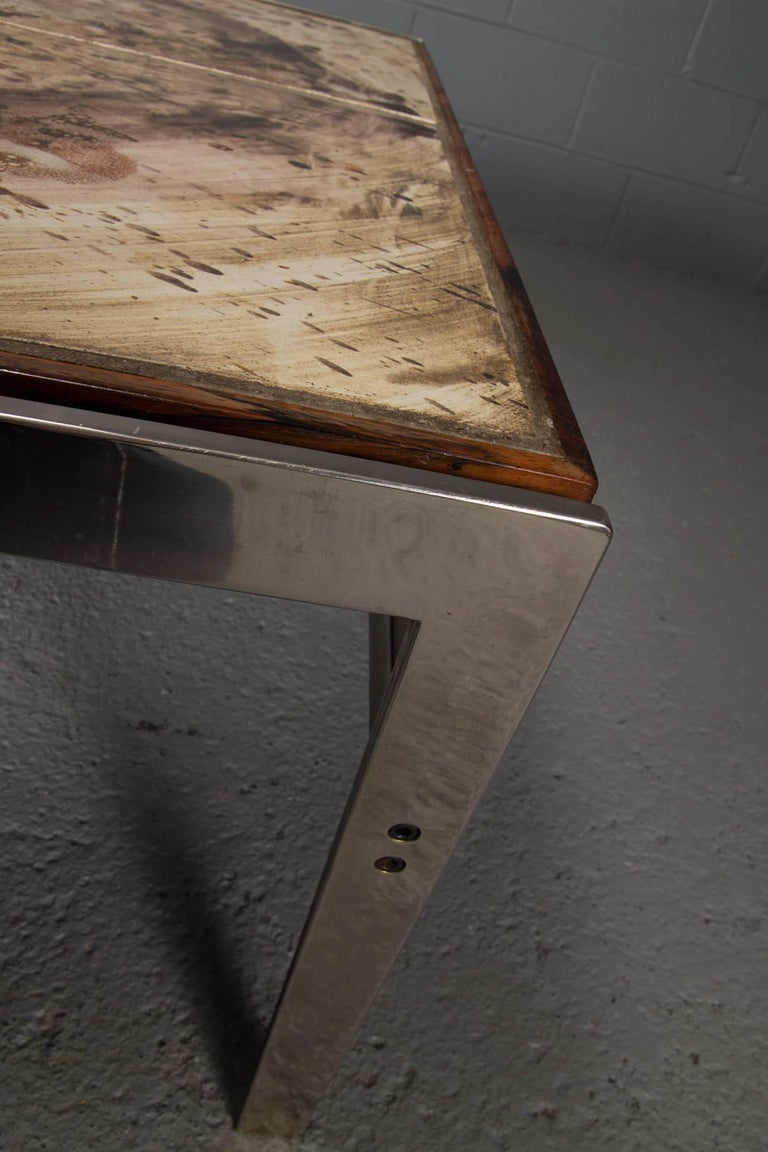 Hand-Painted Tile Coffee Table with Rosewood and Chrome Frame For Sale 2