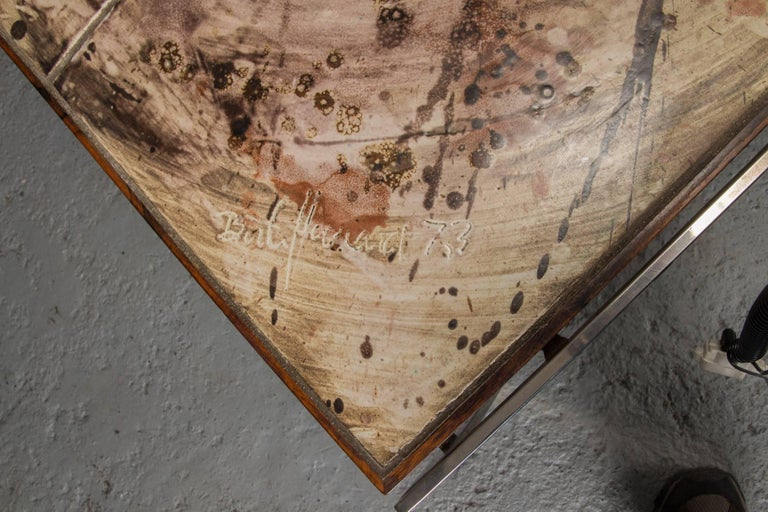20th Century Hand-Painted Tile Coffee Table with Rosewood and Chrome Frame For Sale