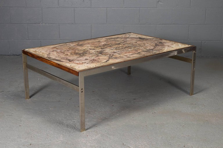 Mid-Century Modern Hand-Painted Tile Coffee Table with Rosewood and Chrome Frame For Sale