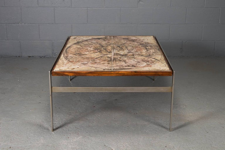 Unknown Hand-Painted Tile Coffee Table with Rosewood and Chrome Frame For Sale