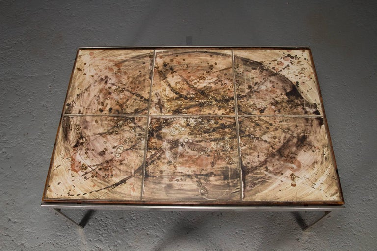 Hand-Painted Tile Coffee Table with Rosewood and Chrome Frame In Good Condition For Sale In Belmont, MA