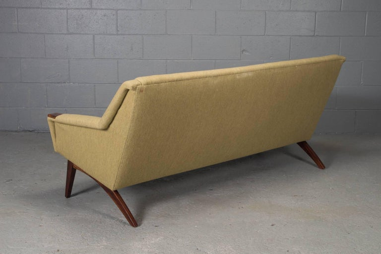 Danish Modern Sofa with Rosewood Paws and Angled Legs In Good Condition For Sale In Belmont, MA