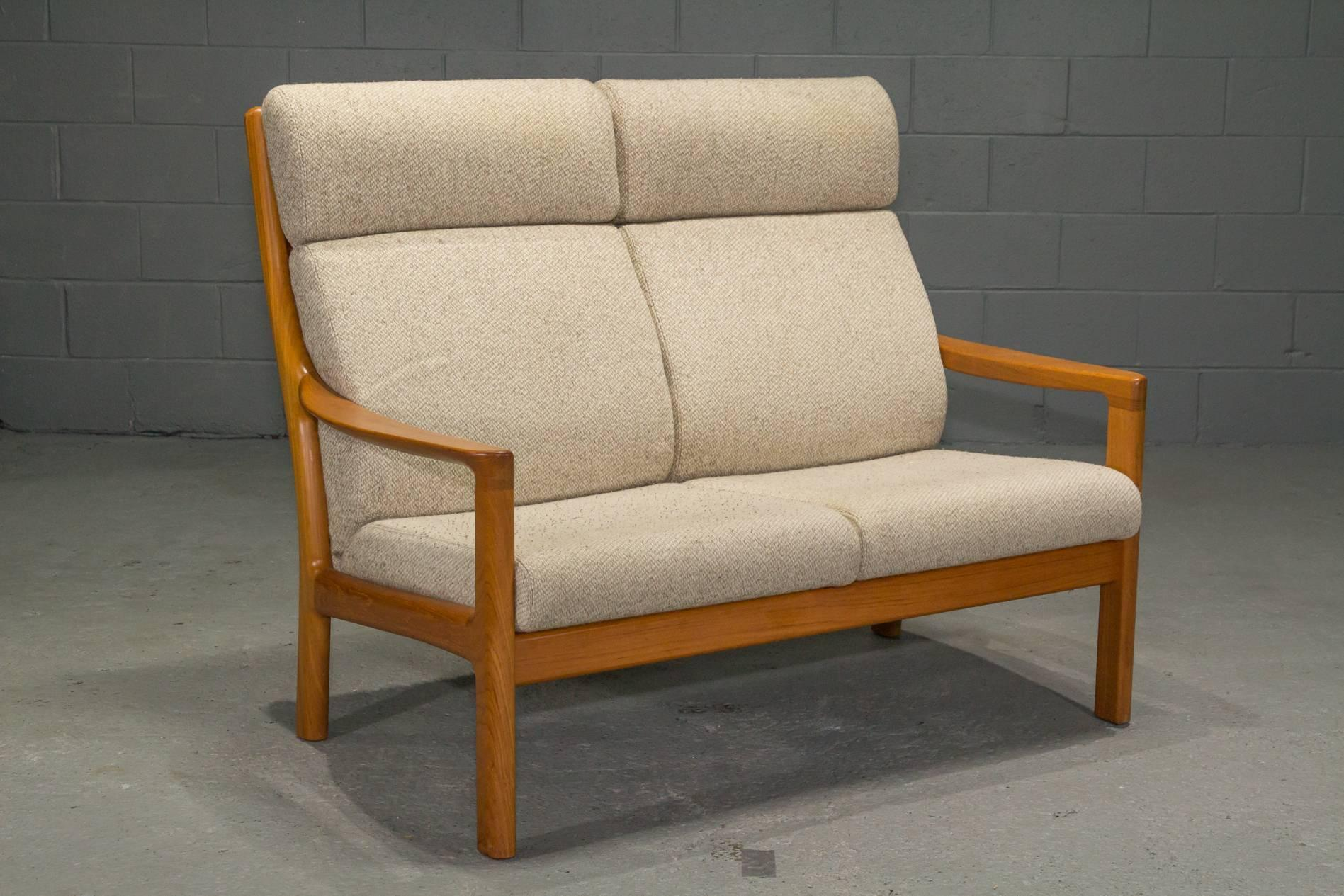 MidCentury Modern Teak High Back Loveseat By Johannes Andersen For CFC  Silkeborg For Sale High Back Loveseat C10