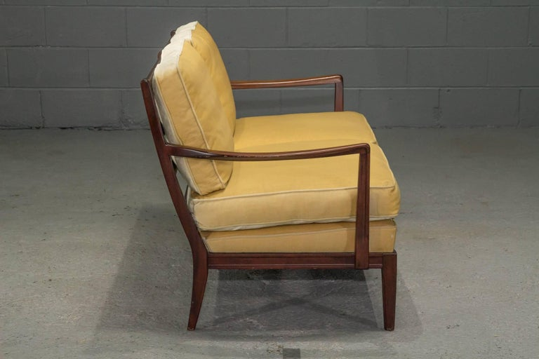 Mid-Century Modern Danish Modern Loveseat Settee with Down Cushions For Sale