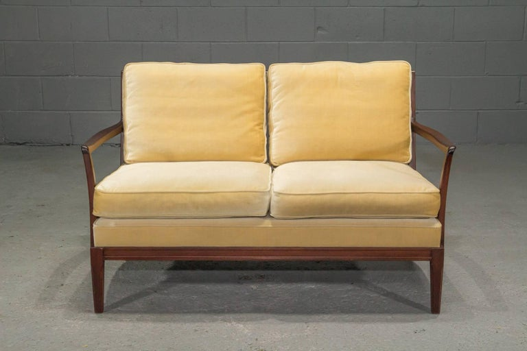 Danish Modern Loveseat Settee with Down Cushions upholstered in a gold mohair/velvet. Matching armchair also available.
