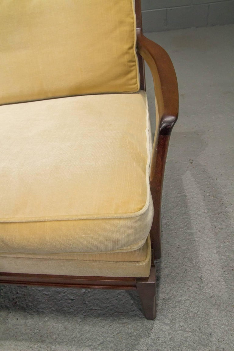 Danish Modern Loveseat Settee with Down Cushions For Sale 1
