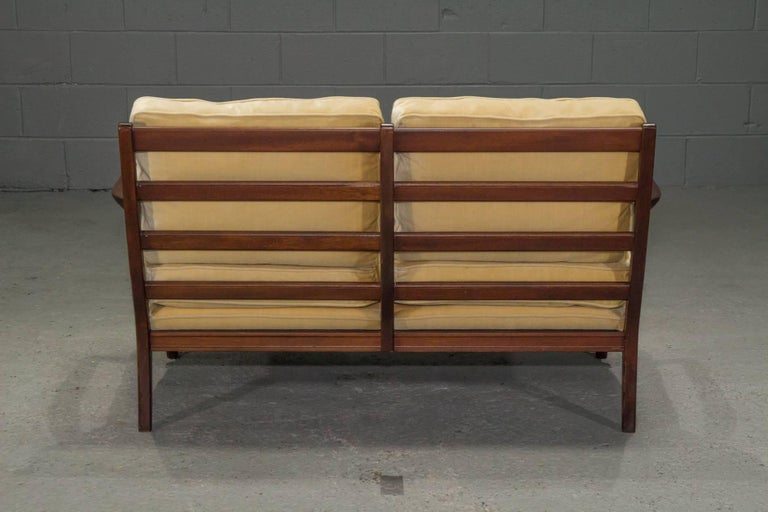Danish Modern Loveseat Settee with Down Cushions In Excellent Condition For Sale In Belmont, MA