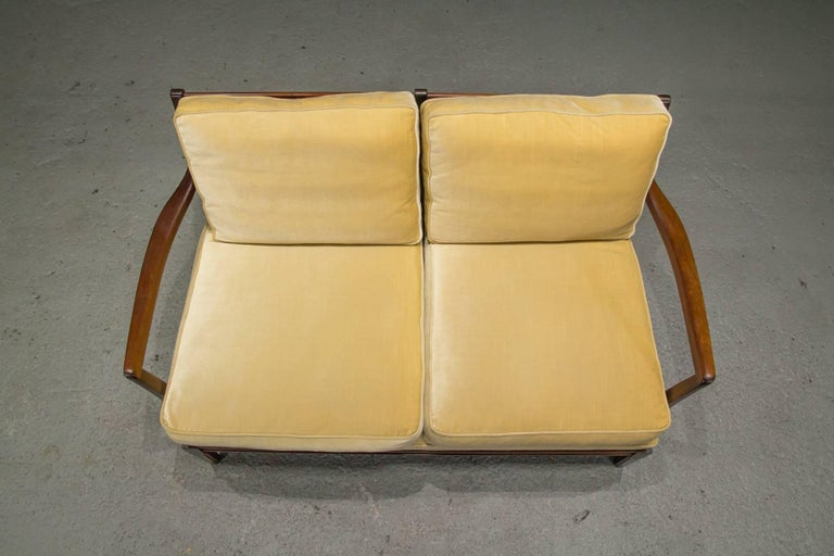 20th Century Danish Modern Loveseat Settee with Down Cushions For Sale