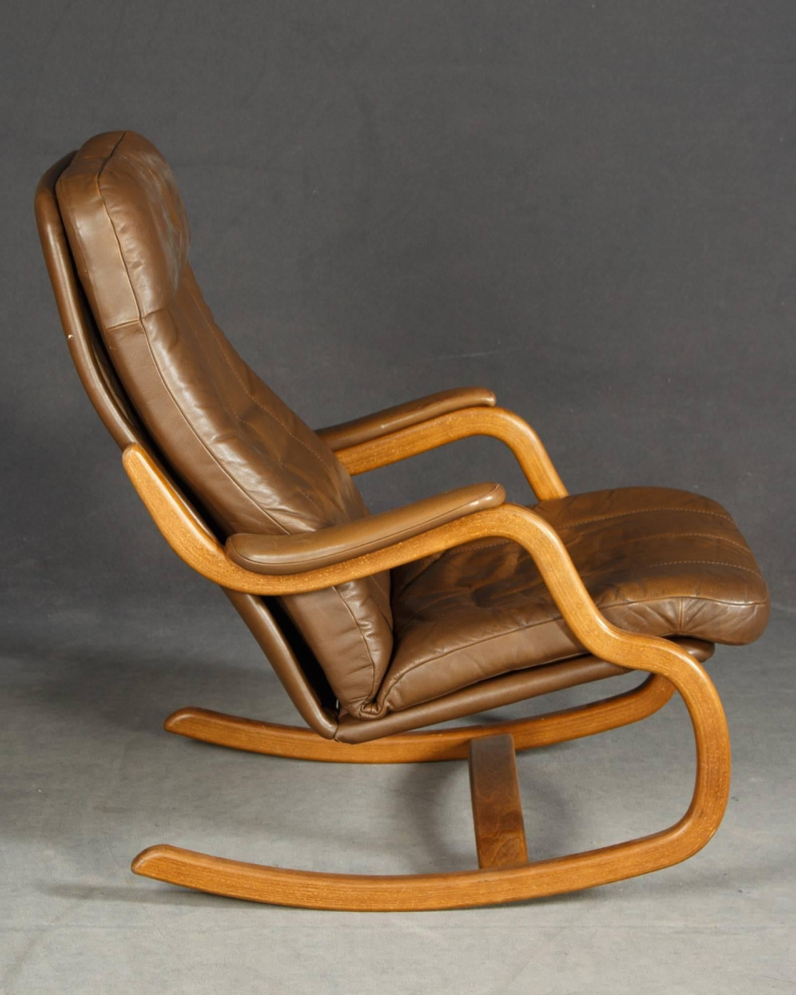 Midcentury Danish Lounge Chair With Ottoman And Leather Cushions. Nicely  Executed Design.