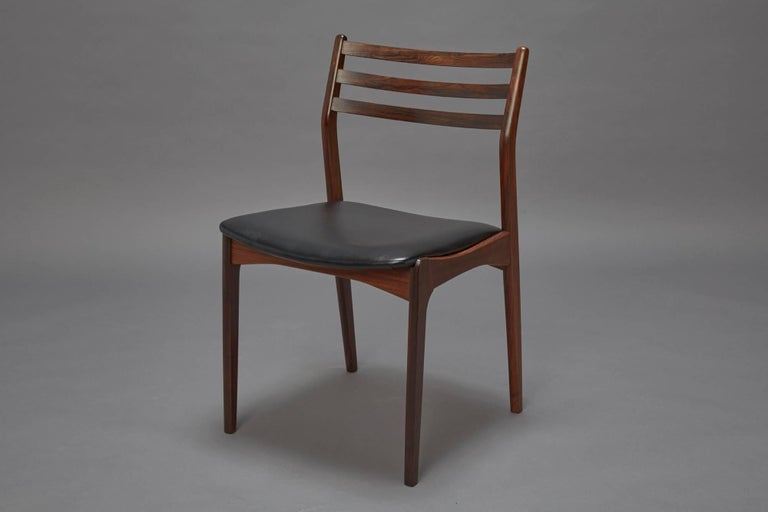 Mid-Century Modern Set of Four Danish Modern Rosewood Dining Chairs Attributed to Niels Otto Møller For Sale
