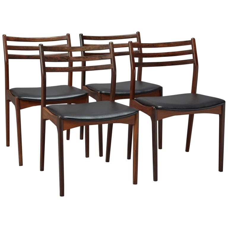 Set of Four Danish Modern Rosewood Dining Chairs Attributed to Niels Otto Møller