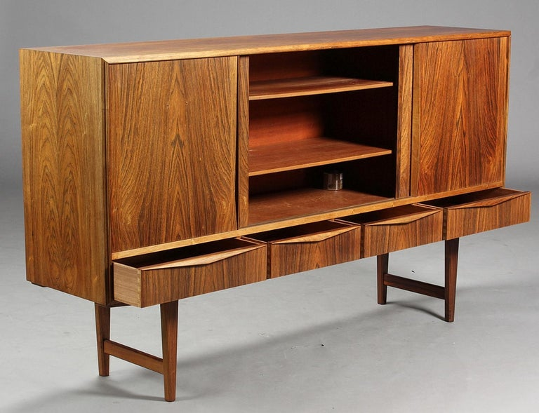 Mid-Century Modern High Rosewood Sideboard by EW Bach for Sejling Skabe For Sale