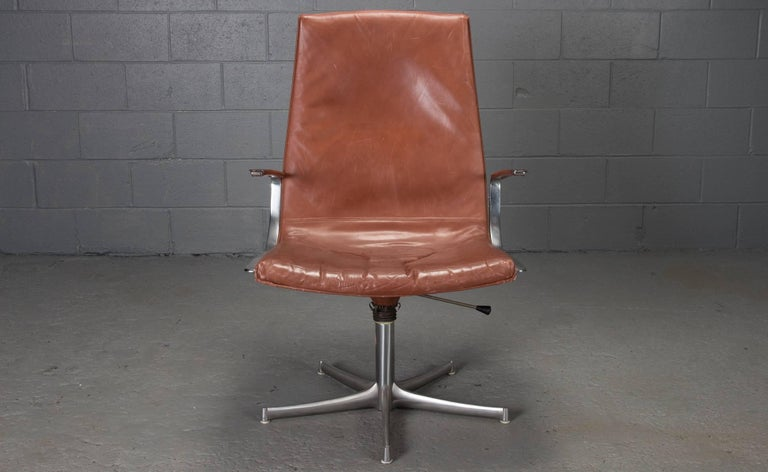 Walter Knoll armchairs in chrome and leather (possible attribution: Jørgen Kastholm and Preben Fabricius).