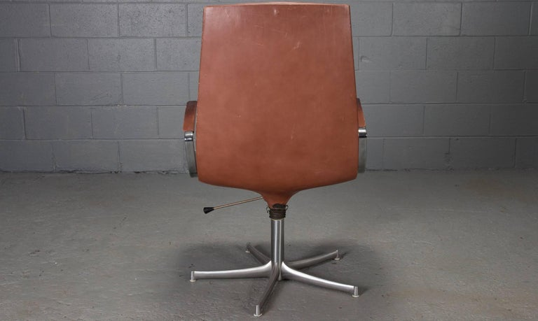 20th Century Set of Six Armchairs in Chrome and Cognac Leather by Walter Knoll For Sale