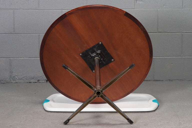Danish Round Rosewood and Chrome Pedestal Base Coffee Table For Sale