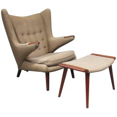 1950s Papa Bear Chair and Ottoman Model AP-19 by Hans Wegner for AP Stolen