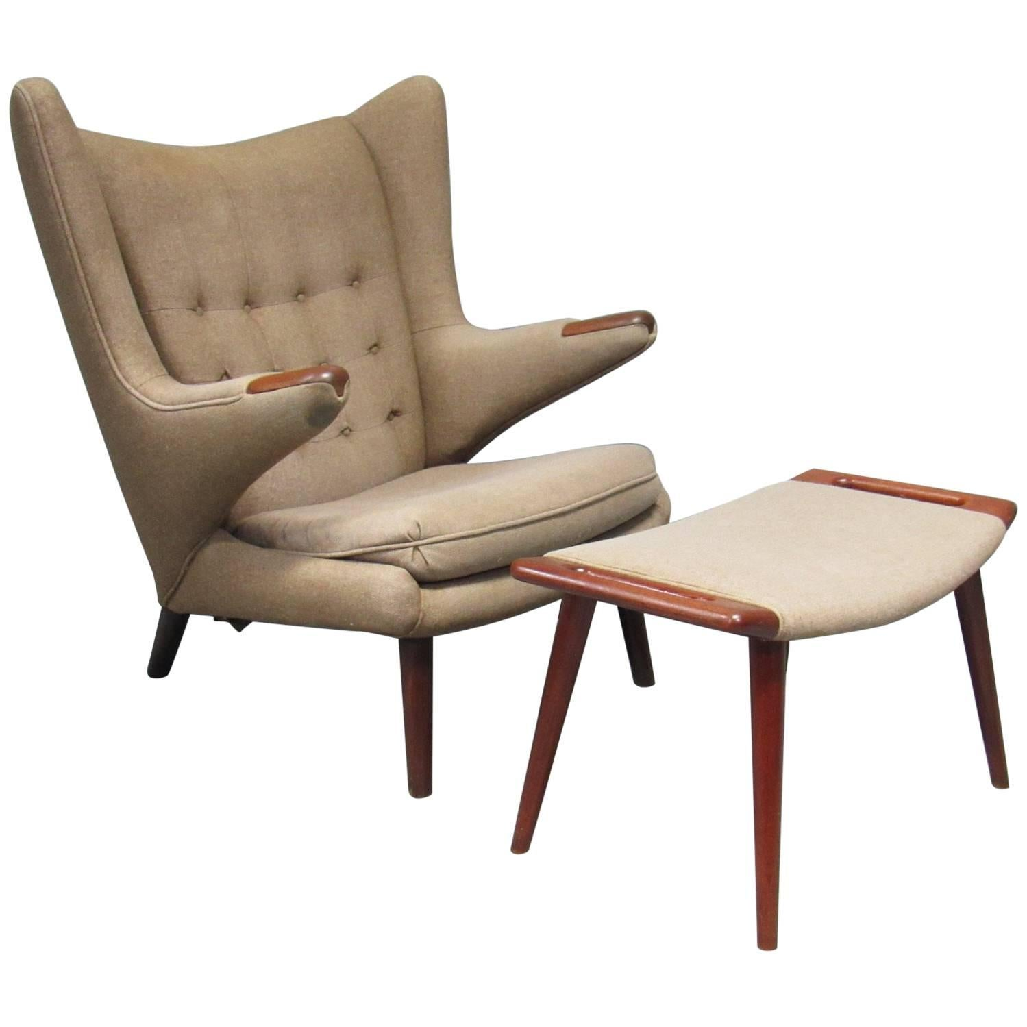 1950s Papa Bear Chair And Ottoman Model AP 19 By Hans Wegner For AP Stolen